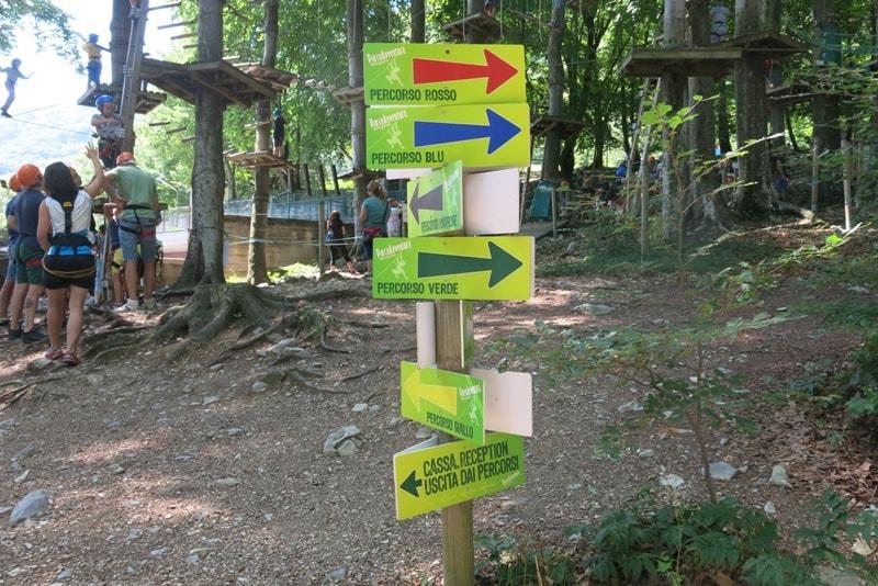 percorsi del parco avventura roncola